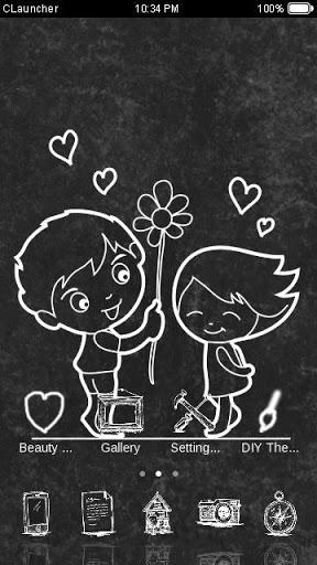 Cute Love Black & White Theme for vivo Y81 - free download APK file