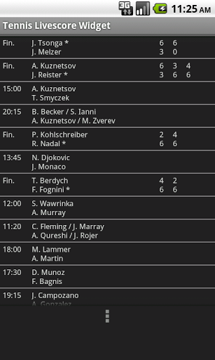 Tennis Livescore Widget